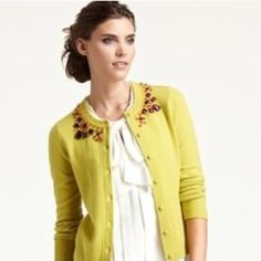 """Kate Spade """"Paulina"""" Cardigan Chartreuse, jeweled collar. True to size. kate spade Sweaters Cardigans"""