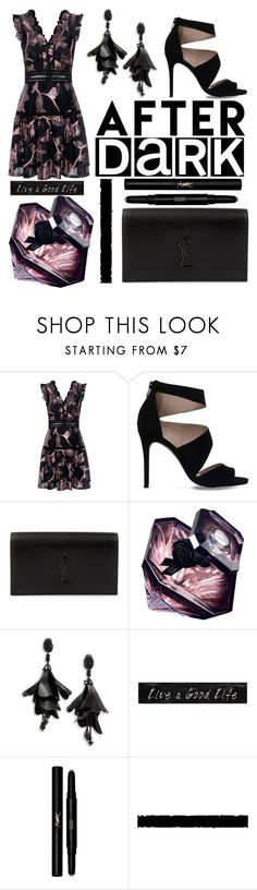 """After Dark"" by elenp80 ❤ liked on Polyvore featuring Rebecca Taylor, Carvela, Yves Saint Laurent, Lancôme, Oscar de la Renta, 3R Studios and Tim Holtz"