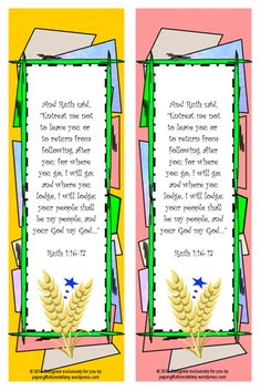 FREE Ruth, Naomi and Boaz Bookmark with Bible verse from Ruth 1:16