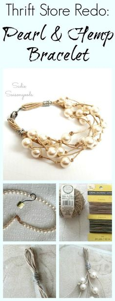 Imitation pearl necklaces are a staple at most thrift stores...but they're a little stuffy and stodgy for my tastes. Sooo...I repurposed the pearl beads with the help of some hemp cord into fresh, summer-y, beach-y jewelry in just a few minutes! And for just a few dollars. Super easy upcycle DIY craft project that anyone can do...and the end result is simply gorgeous! #SadieSeasongoods / www.sadieseasongoods.com