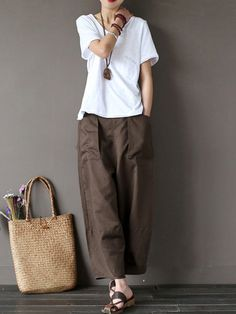 bcbb73863b555d Gracila Casual Pure Color Wide Leg Elastic Waist Pants For Women is  necessary for cold weather