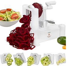 Brieftons Spiralizer: Strongest-and-Heaviest Duty Vegetable Spiral Slicer, Best Veggie Pasta Spaghetti Maker for Low Carb/Paleo/Gluten-Free Meals, With 3 Exclusive Recipe eBooks - White Zoodle Maker, Spiral Vegetable Slicer, Vegetable Spiralizer, Food Spiralizer, Veggie Pasta, Zucchini Pasta, Pasta Maker, Sans Gluten, Gluten Free