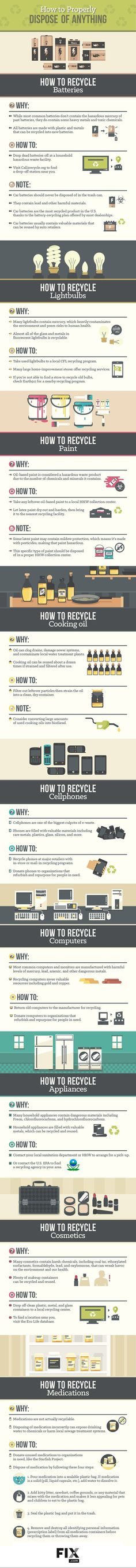 Find out the best way to recycle and dispose of batteries, computers, cosmetics, and more! #Recycle #Green