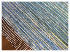 "Handmade Rag Rug - Blue and Yellow - 96"" x 120"". $450.00, via Etsy."