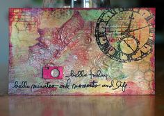 Mixed media :: Love this stamped index card. Collage Techniques, Mixed Media Techniques, Card Making Techniques, Artist Journal, Art Journal Pages, Art Journaling, Mixed Media Collage, Collage Art, Collages