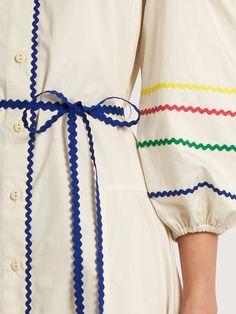 Anna October Cut-out shoulder rickrack-trimmed cotton dress Linen Shirt Dress, Poplin Dress, Sparkly Outfits, Rick Rack, Fashion Details, Fashion Design, Textiles, Types Of Dresses, Mode Vintage