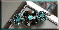 Flowers aqua/brown Elastic Headband - Precious!  Visit my Shop for More precious Hair Bows/Headbands :-)