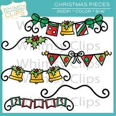 FREE - This Christmas Bunting freebie includes 3 Buntings and 2 dividers. This set includes 5 color images and 6 black & white images in png.