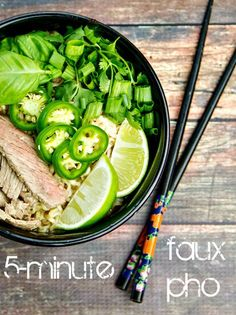 The tastiest 5 minutes you'll ever spend! {5- minute Faux Pho} Click for 20 more easy Ramen Noodle Recipes! #pho #ramen