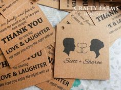 Wedding door gift thank you tags using kraft brown recycled card
