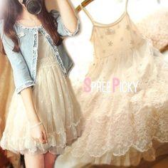 Creamy Floral Ruffle Princess Dress SP179095