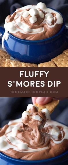 nice Fluffy S'mores Dip! Fluffy marshmallow and chocolate dips are swirled together t...