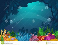 Illustration about Illustration of under the sea background vector. Illustration of image, light, creature - 46267983 Under The Sea Images, Under The Sea Background, Sea Floor, Deep Sea Creatures, Under The Ocean, See Images, Easy Drawings, Vector Art, Underwater