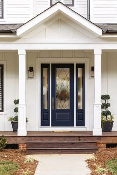 Masonite Fiberglass door with Ventata decorative glass insert in Anchors Aweigh finish Wood Entry Doors, Garage Doors, Front Entry, Exterior Doors, Transitional Style, Glass Door, New Homes, Decorative Glass, Anchors