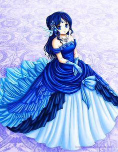 Fille manga aux cheveux; aux yeux bleus et avec une robe bleu