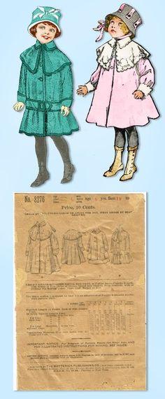 1910s Vintage Butterick Sewing Pattern 8276 Baby Girls Ripple Box Coat Sz 6 mos #Butterick #CoatPattern