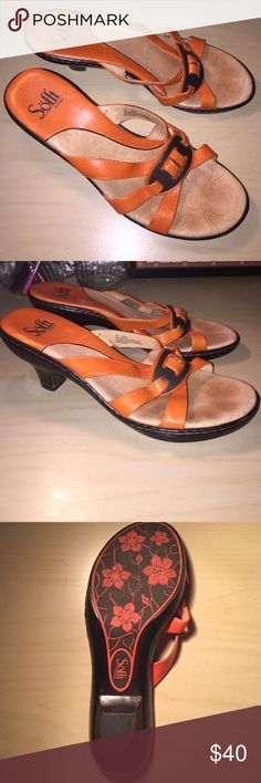 ‼️DONATING 3/17‼️ Orange Mini Heel Sandals These sandals/mini heels are great for summer! Very lightly worn and very comfortable. Nice orange color with front buckle on straps. Women's size 8! Sofft Shoes Heels