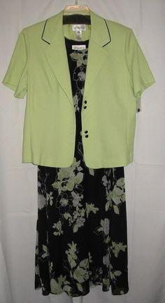 Studio 1 Women's Size 18 Dress and Short-Sleeve Jacket Light Green Black Floral #StudioI #Casual