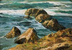 Along the Laguna Shore: Time Revealed by Gil Dellinger Oil ~ 12 x 16 Seascape Paintings, Nature Paintings, Landscape Paintings, Landscapes, Ocean Waves, Coastal, Oil, Timeless Beauty, Mosaics