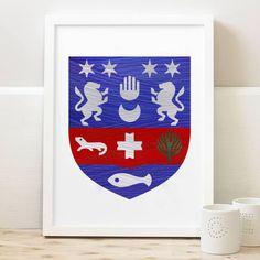 Keane Coat of Arms.custom hand painted personalised gift. Wedding Gift. Anniversary Gift. Irish Design. Framed.