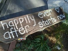 Happily Ever After Starts Now Wedding Sign Decoration Rustic Country Wedding Reception Garden white Reclaimed Wood Winery Beach Shabby Chic. $28.20, via Etsy.