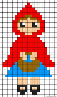 Little Red Riding Hood cross stitch pattern Perler Beads, Perler Bead Art, Cross Stitching, Cross Stitch Embroidery, Cross Stitch Patterns, Motifs Perler, Perler Patterns, Safety Pin Crafts, Modele Pixel Art