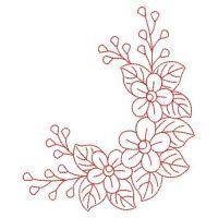 Draw Flower Patterns Redwork Violet - Border Embroidery Designs, Floral Embroidery Patterns, Embroidery Flowers Pattern, Flower Patterns, Machine Embroidery Designs, Hand Embroidery Videos, Hand Embroidery Stitches, Ribbon Embroidery, Embroidery Kits