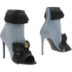 Fausto Puglisi Ankle Boots (€440) ❤ liked on Polyvore featuring shoes, boots, ankle booties, sky blue, zip ankle boots, leather ankle boots, leather sole boots, leather bootie and zip boots