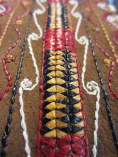 Quillwork. Really awesome quillwork, and direct to leather!!