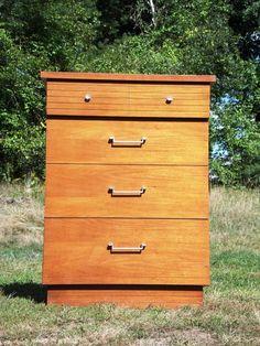 Vintage Mid Century Modern Highboy Dresser Chest of Drawers Walnut Bureau MCM…