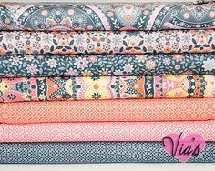 Fat Quarter Kit : Silent Cinema Jenean Morrison Orange Peach Free Spirit Fabric Designer Cotton Quilt Fabric Bundle via Etsy