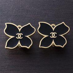 Vintage Chanel Earrings, Black