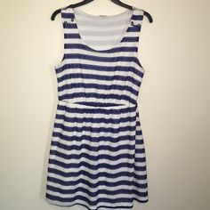 Large Charlotte Russe blue striped dress This is a super cute dress in a size large. It has blue lace stripes. It also has buttons on the shoulder and is in great condition with no rips tears or stains. I ship same day and Discount bundles!! Charlotte Russe Dresses Midi