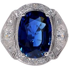 Pre-owned 7.02 Carat GIA Cert Sapphire Diamond Platinum Ring ($25,000) ❤ liked on Polyvore featuring jewelry, rings, more rings, diamond jewellery, platinum diamond ring, pre owned engagement rings, sapphire jewellery e platinum jewellery