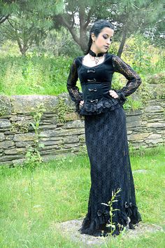 Black velvet and lace gothic blouse by ClaudiaCandeiasArt