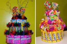 9 Fun Ideas for Candy Cakes. Candy cakes are fun and easy to make - not to mention delicous. Kosher candy can be used for a kosher candy cake. Candy Theme Cake, Candy Cakes, Candy Party, Kosher Candy, Candy Centerpieces, Candy Arrangements, Luau Decorations, Party Dishes, Cake Trends