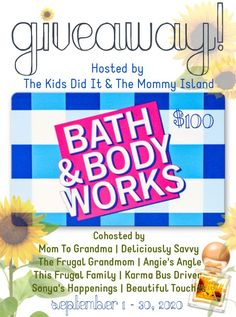 The Ottawa Mommy Club is pleased to take part in the $100 Bath and Body Works Gift Card Giveaway! Open Worldwide and ends on 09/30. Body Works, It Works, Frugal Family, Fall Gifts, Fall Scents, Bath And Bodyworks, Gift Card Giveaway, You Are Invited, Close To My Heart