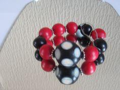 Red& Black Bead Bracelet by ElainesJewells on Etsy