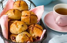 If you fancy changing things up we've put a couple of twists on the traditional hot cross bun recipe by adding apple, cranberries and a marzipan centre. Apple Recipes, Baking Recipes, Cinnamon Recipes, Easter Recipes, Baking Ideas, Bread Recipes, Healthy Recipes, Marzipan Recipe, Hot Cross Buns