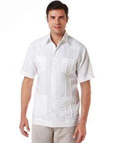 a952e321 Cubavera Men's Big and Tall Embroidered Panel 4-Pocket Guayabera Shirt -  White 3XLT Mens