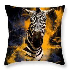 Zebra In Africa Throw Pillow by Barbara Hebert