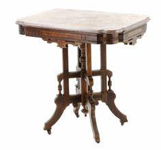 Great Antique Eastlake Beveled Marble Top Side Table W/ Original Metal Casters    Sold $175.00