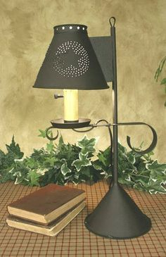 Primitive Desk Lamp With Star Punched Shade   Electric Lamp