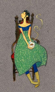 Koffie - Illustration by Yoko Tanji Coffee Girl, I Love Coffee, Best Coffee, Good Morning Coffee, Coffee Break, Coffee Cafe, Coffee Shop, Coffee Mugs, She's A Lady