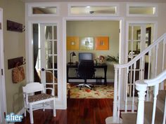 Knock down closet and create new entry way into the office with french doors and transom windows.