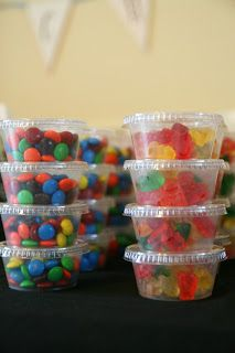 Movie Party Snacks for Kids of all ages! - plan ahead for special treats. These small containers can be packaged and labeled for bday parties, school parties etc. Drive in movie party idea Movie Party Snacks, Movie Night Party, Party Time, Kids Movie Party, Pajama Party Kids, Party Treats, Party Candy, School Party Snacks, Christmas Pajama Party