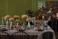 Wheat, a staple of the American farm, makes a simple yet striking centerpiece when arranged in two heights down the length of a table.