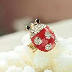 Red and White Ladybug Ring