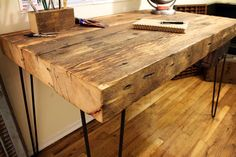 Reclaimed Wood Desk  Made to Order by IronAndWoodside
