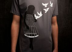 """Thanks to Thread-less Tees and the DNA Foundation for inspiring this  design as a statement against human trafficking. A worthy causer.  I also liked it from another perspective - as an expression of """"Getting out of our own way"""" which can have many meanings...setting ourselves free is ... a worthy goal. What do you think when you see this clever drawing?"""